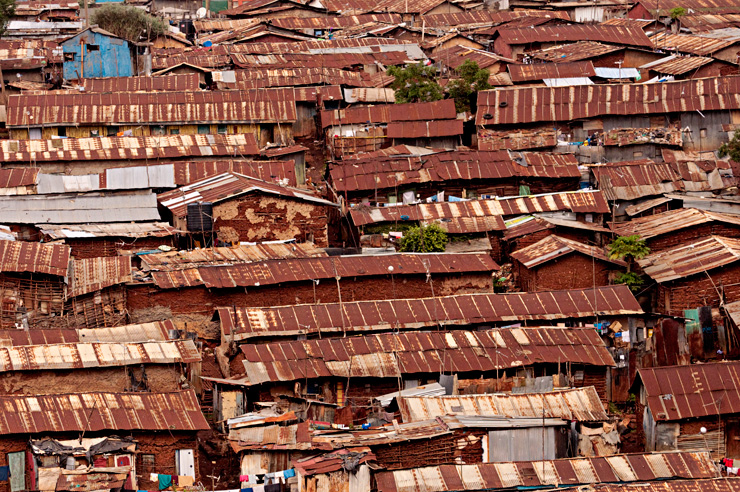 The slum district of Kibera in Nairobi