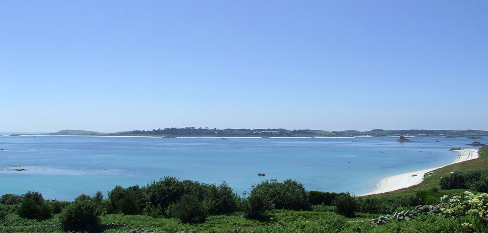 View of the azure blue shallow water, Isles of Scilly