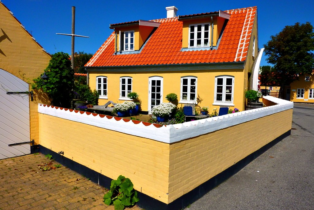 Skagen is famous for yellow houses with red roof