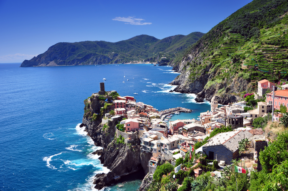 View over the azure blue Ligurian Sea Italy