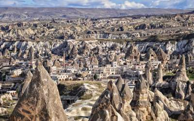 Unusual rock formations in Cappadocia in Turkey