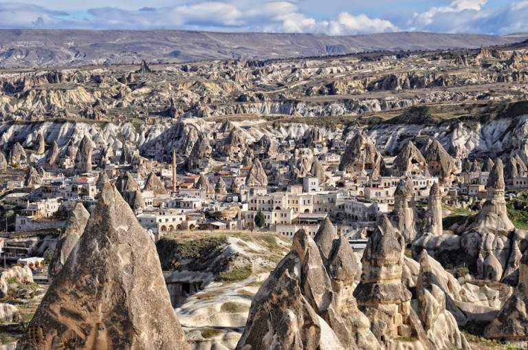 Unusual rock formations in Cappadocia, Turkey