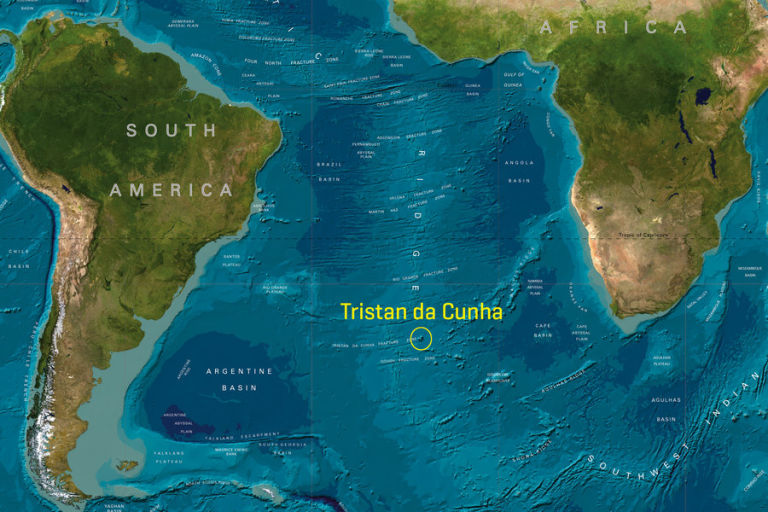 Tristan da Cunha lies in the middle of the southern Atlantic