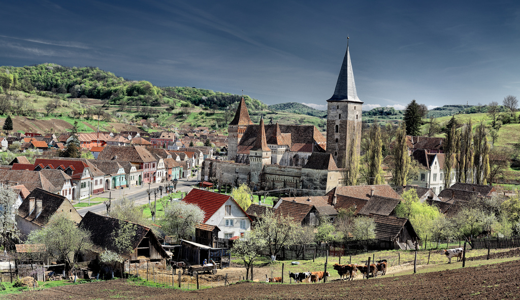 Typical Saxon Village on the countryside in Transylvania in Romania