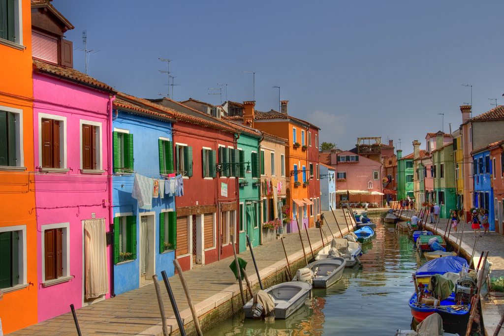 Island of burano venice brightly colored homes Color hotel italy