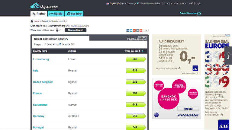 SkyScanner Cheapest flight