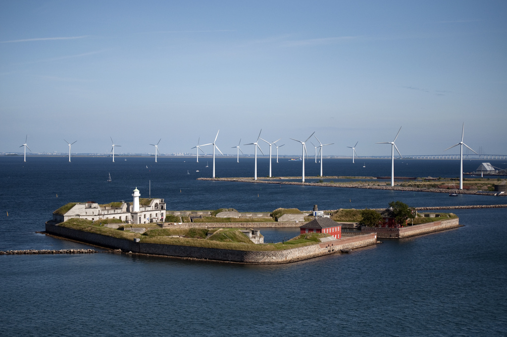 Offshore wind turbines located in the harbor of Copenhagen