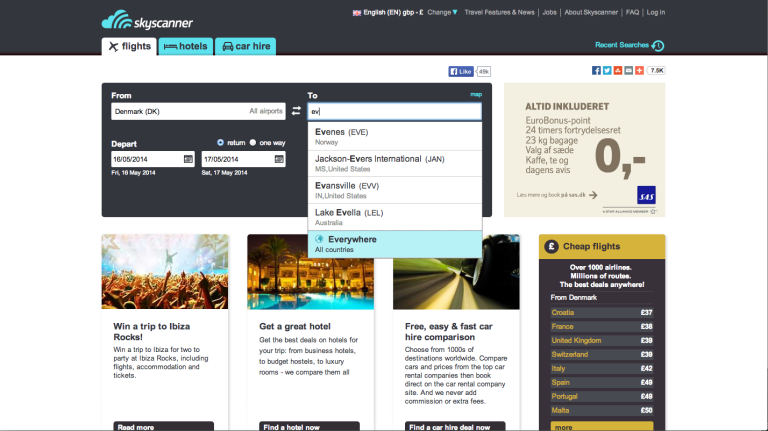 Skyscanner Search world