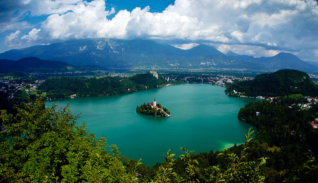 Bled lake is located in the Slovenian Alps