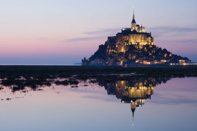 The Mont-St-Michel at night.