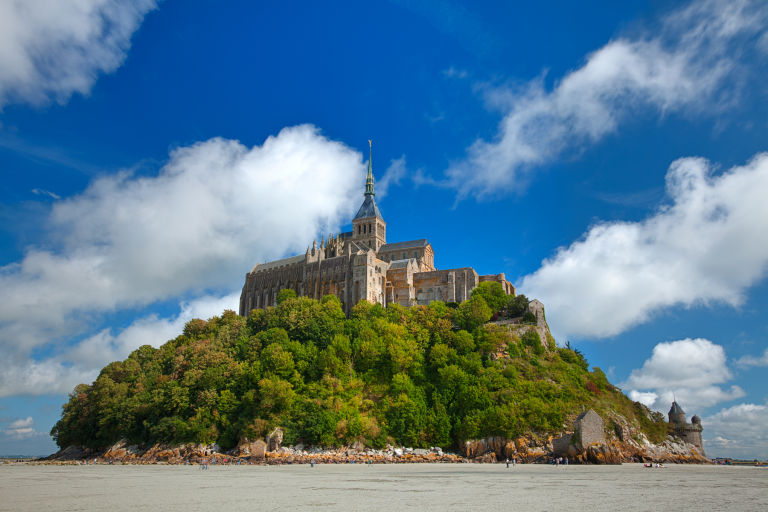 Old world castle from Mont Saint-Michel in Normandy, France.