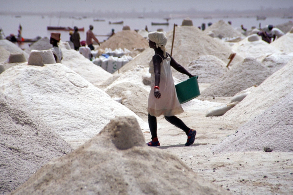 Getting salt from Lac Retba, Senegal