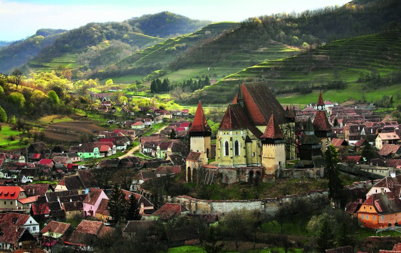 The Saxon Village and fortified church of Biertan in Transylvania