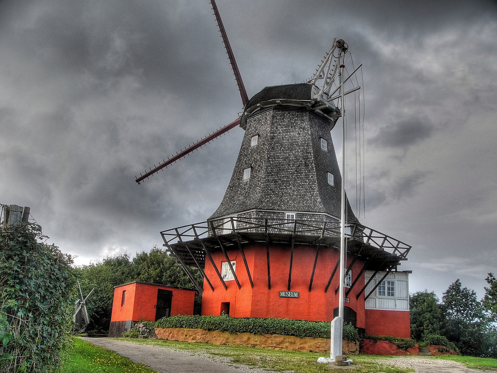 This is an example of a traditional Danish Windmill located on the small island of Langeland