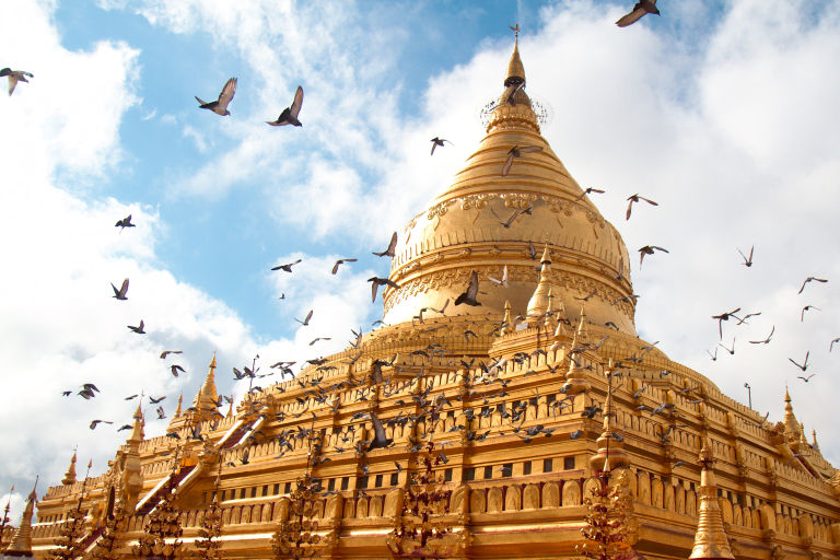 Shwezigon Pagoda Bagan in Myanmar