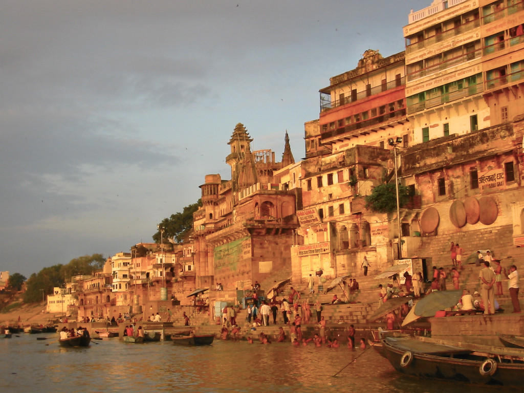 Sunrise at the Ganga river in Varanasi