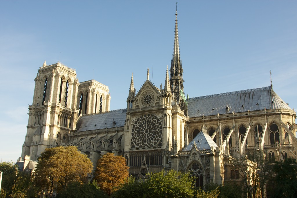 The southwest side of Notre Dame Cathedral.