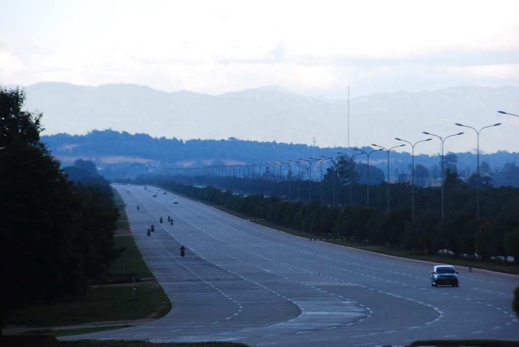 Highway in Naypyidaw, Burma.