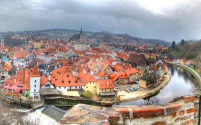 The historic centre of Cesky Krumlov in Czech Republic.
